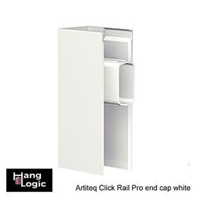 The end cap Click Rail pro white is part of the Artiteq Click Rail picture hanging system.