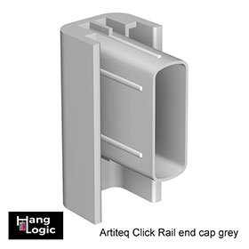 End cap Click Rail grey that the Artiteq Click Rail picture hanging system.