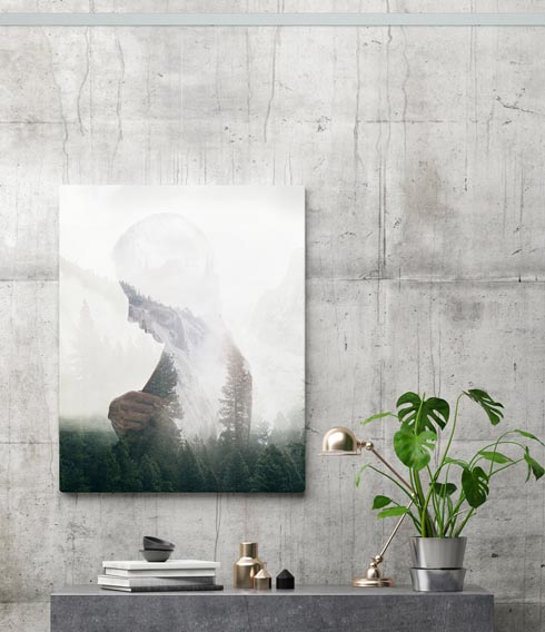 picture of woman hung on concrete wall with picture hanging system